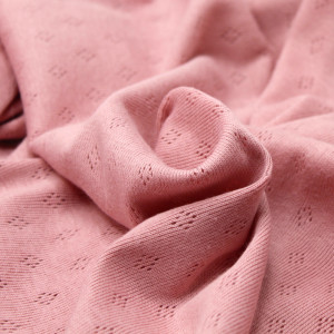 Jersey coton maille pointelle coloris rose nude