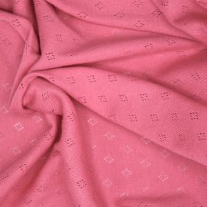 Jersey coton maille pointelle coloris rose framboise