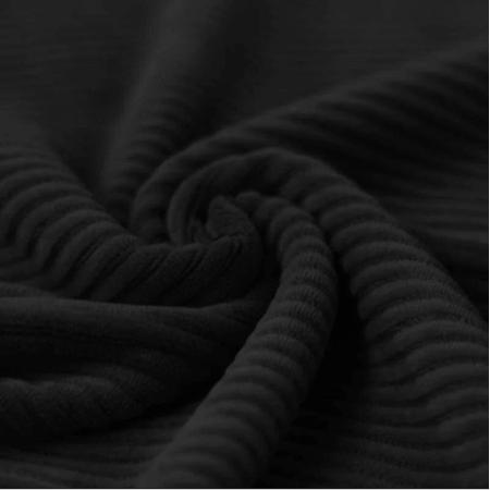 Velours jersey grosses côtes coton coloris noir