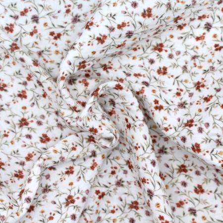 Double gaze de coton à motifs imprimé fleuri