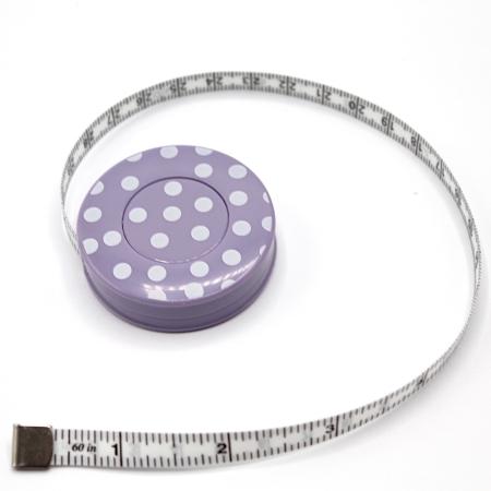 Mètre enrouleur automatique à pois 150cm ruban parme