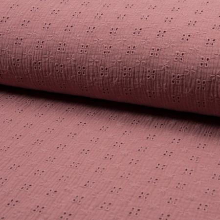 Double gaze de coton brodée coloris vieux rose