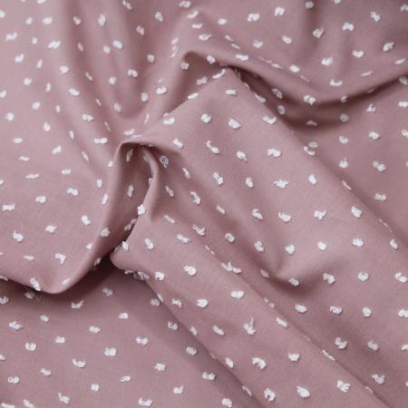 Plumetis de coton bicolore vieux rose