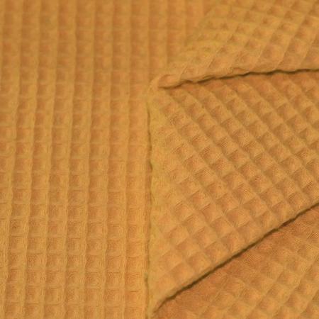 Coton nid d'abeille coloris MOUTARDE
