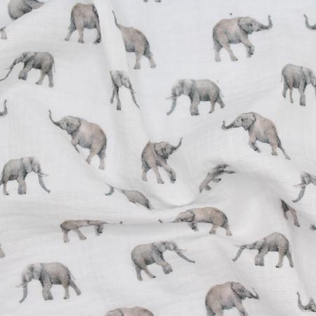 Double gaze de coton imprimé éléphant