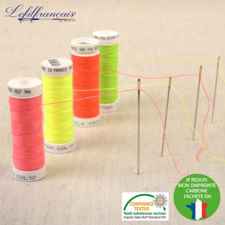 Fil à coudre français polyester 150m FLUO