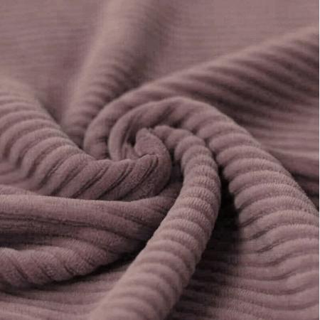Velours jersey grosses côtes coton coloris rose antique