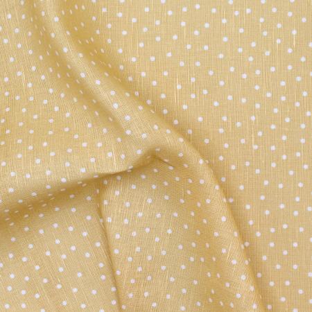 Tissu lin coton lavé à pois