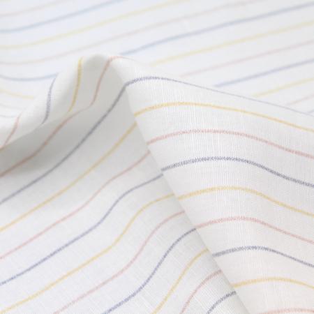 Tissu lin coton lavé à rayures