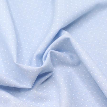 Chambray coton coloris bleu ciel à pois