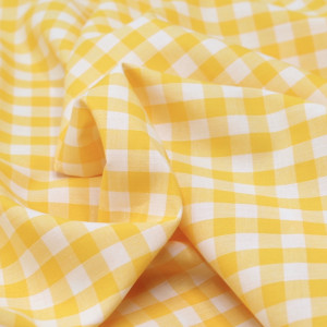 Coton vichy carreaux 10mm jaune citron