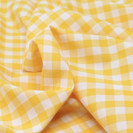 Coton vichy carreaux 10mm jaune citron