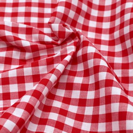 Coton vichy carreaux 10mm Rouge