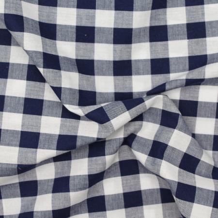 Coton vichy carreaux bleu marine et blanc 20mm