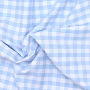 Coton vichy carreaux 10mm bleu layette