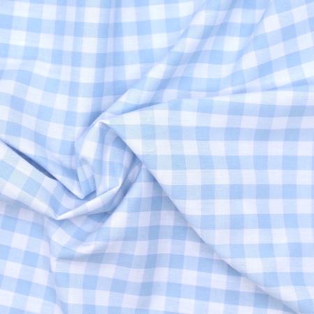 Coton vichy carreaux 10mm bleu layette