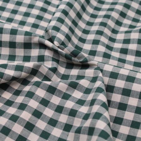 Coton vichy carreaux écru et vert sapin