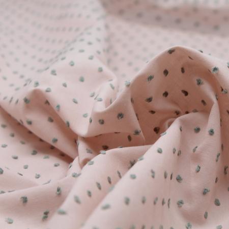 Plumetis de coton bicolore nude et vert sauge