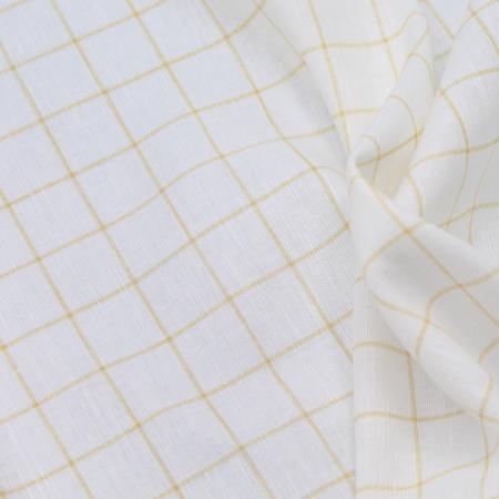 Tissu lin coton lavé à carreaux moutarde