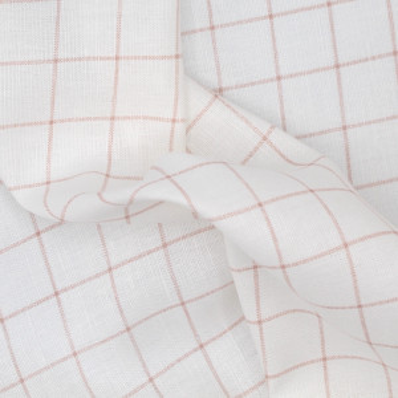 Tissu lin coton lavé à carreaux sable