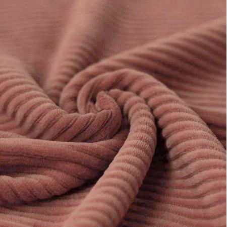 Velours jersey grosses côtes coton rose ARGILE