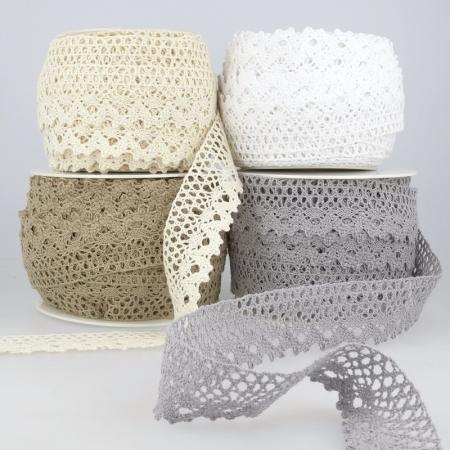 Galon coton crochet 35mm x 1m grège