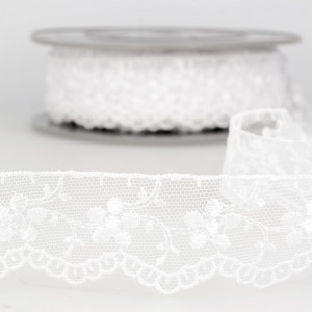Galon dentelle tulle brodé 35mm x 1m blanc