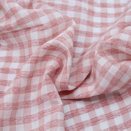 Mélange coton texturé gaze vichy chiné fluide rose nude