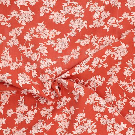 Coton lavé terracota imprimé fleuri blanc