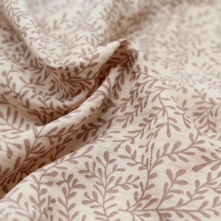 Double gaze de coton BIO natrurel à motifs branches