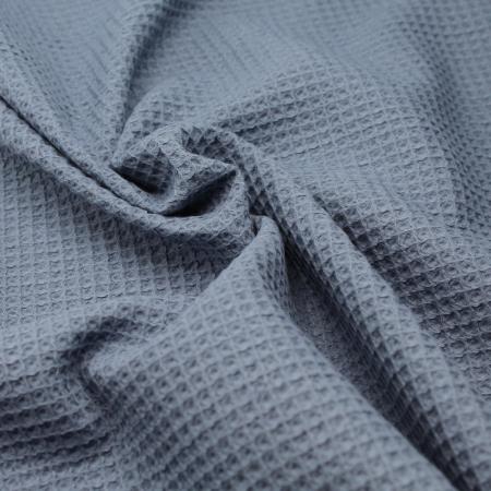 Coton BIO nid d'abeille coloris bleu jean