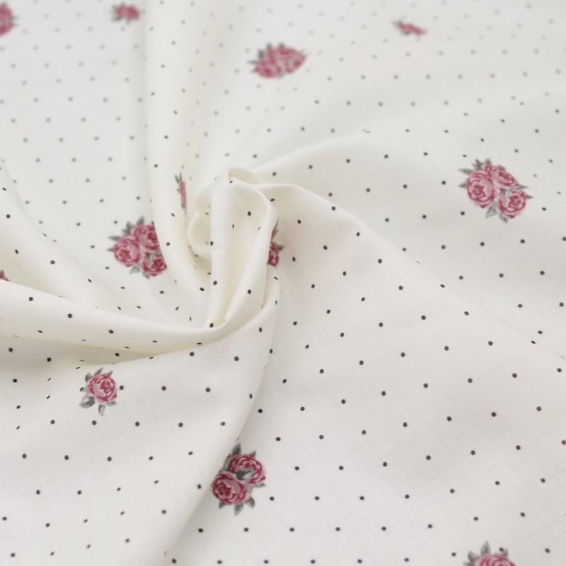 Batiste de coton imprimée Rose and dots / SILKYNE