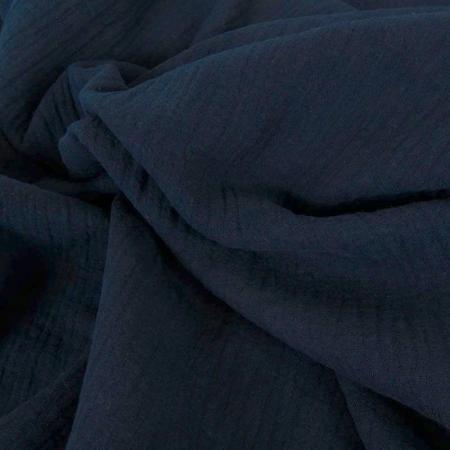 Double gaze de coton BIO unie bleu marine