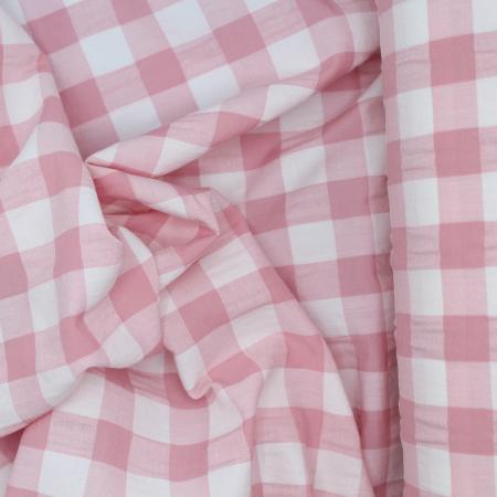 Seersucker / Coton gaufré grand vichy rose tendre