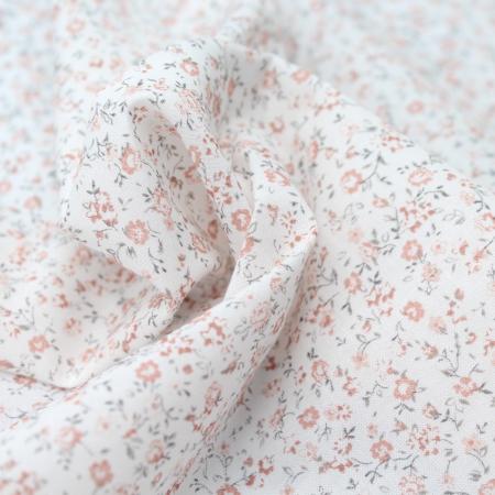 Voile de coton BIO imprimé fleuri rose
