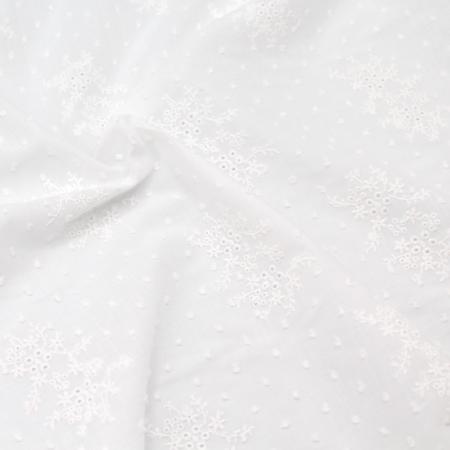 Broderie anglaise plumetis de coton coloris ivoire