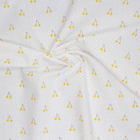 Tissu Voile de coton texturé cerises jaunes