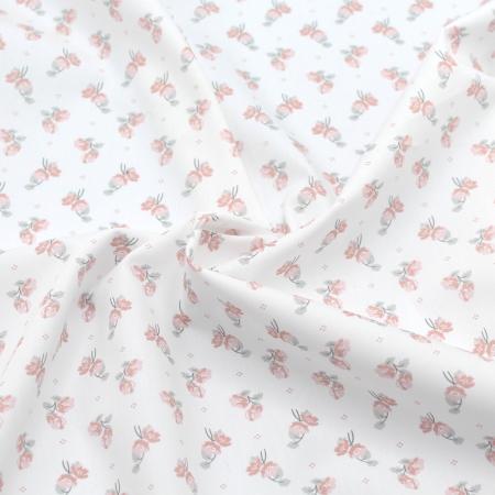 Popeline de coton BIO fine / motif fleuri exclusif Hana
