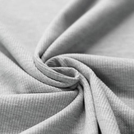 Jersey coton côtes fines coloris gris chiné