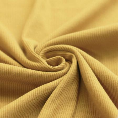Jersey coton côtes fines coloris moutarde à l'ancienne