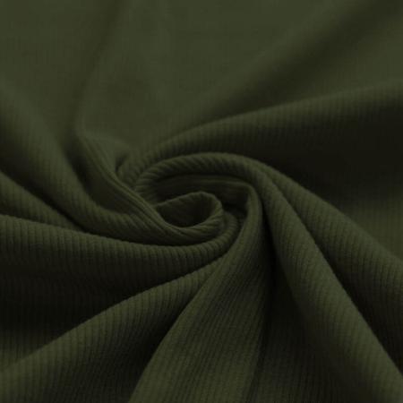 Jersey coton côtes fines coloris kaki