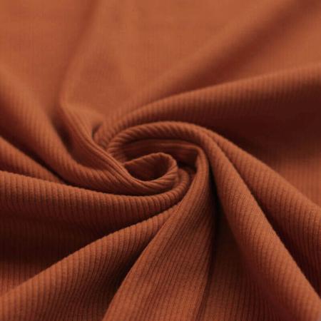 Jersey coton côtes fines coloris roux écureuil