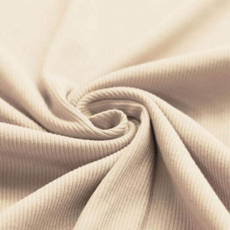 Jersey coton côtes fines coloris beige naturel