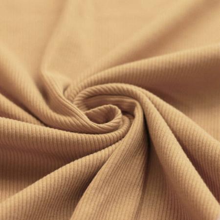 Jersey coton côtes fines coloris CAMEL