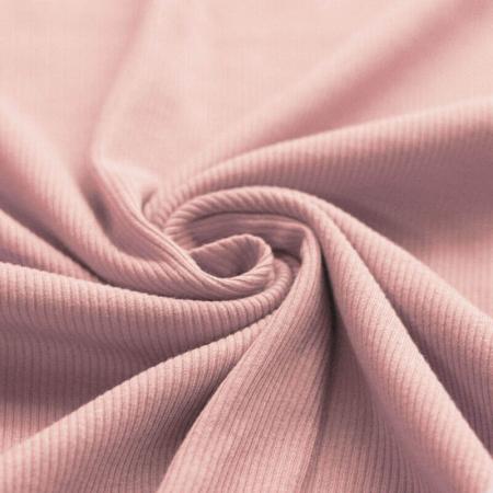 Jersey coton côtes fines coloris rose nude