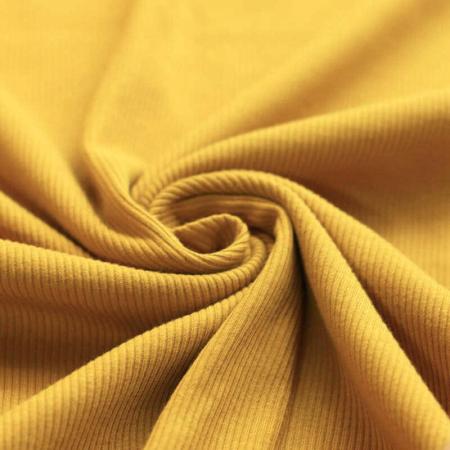 Jersey coton côtes fines coloris moutarde