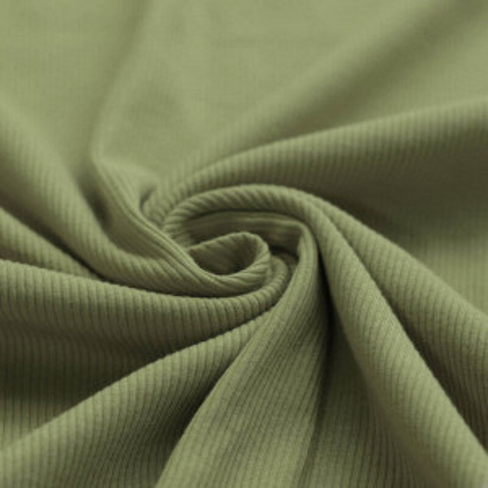 Jersey coton côtes fines coloris vert olive