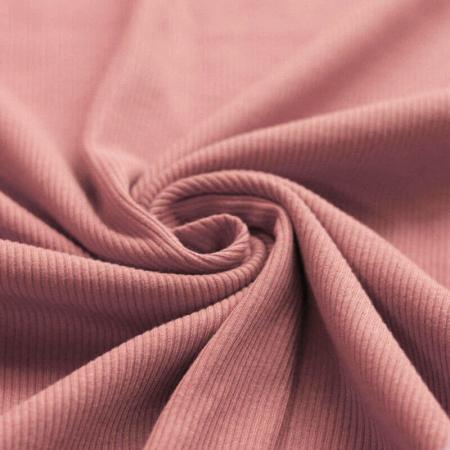 Jersey coton côtes fines coloris argile rose