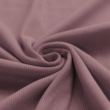 Jersey coton côtes fines coloris rose ancien