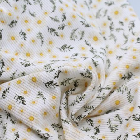 Jersey coton côtes fines à motifs fleur marguerite